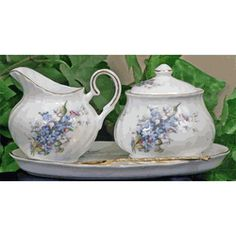 Forget Me Not Fine Bone China - Sugar & Creamer Set - Covered Sugar Bowl - that little matching tray makes it ideal!