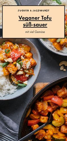 Sweet and Sour Tofu with Rice - Zucker&Jagdwurst Vegetarian Recipes Dinner, Vegan Recipes Easy, Healthy Dinner Recipes, Pie Recipes, Asian Recipes, Recipies, Easy Healthy Dinners, Vegan Dinners, Quick Easy Meals