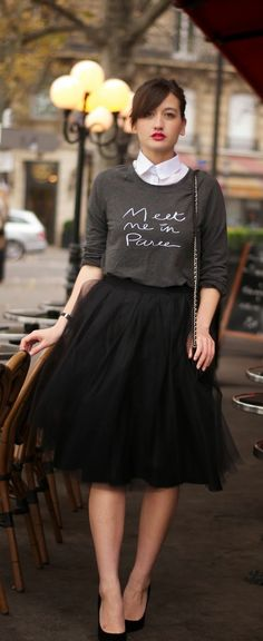 White Button Down paired under a Graphite Graphic Tee and worn with a Full Tulle Skirt : Black and White Women's fashion Outfit Ideas
