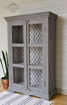 Antique rustic grey pie safe. Dry brush technique. Painted white inside. furniture redo furniture DIY www.rawrevivals.com.au