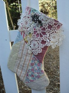 Quilted Christmas Stocking from Vintage Quilt by IttyBittyCottage, $20.00