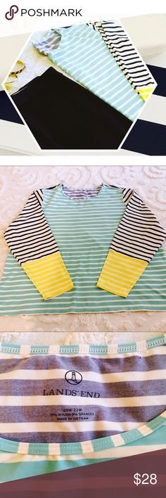 Lands End Nautical Striped Top Super cute cyan, navy and yellow striped top on excellent condition Lands' End Tops