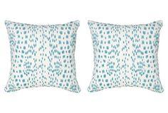S/2 Spots 19.5x19.5 Pillows, Aqua