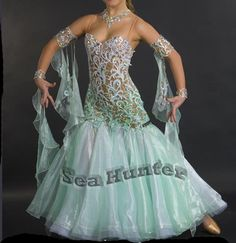 Ballroom Smooth Standard Dance Competition US6 Dress Costume #B3282 lace