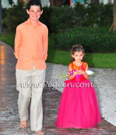 Lipstick and Mango ballerina style FLOWER GIRL DRESSES with layers and layers of tulle by Pegeen