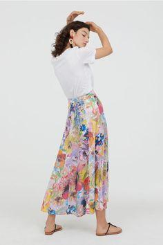 6d5d6dcfd2e1 Rozszerzana spódnica - Wielobarwny Kwiaty - ONA