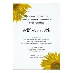 "Yellow Sunflower Baby Shower Invitation 5"" X 7"" Invitation Card"