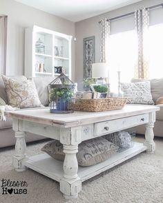 chippy white lime finished coffee table with plenty of modern farmhouse charm