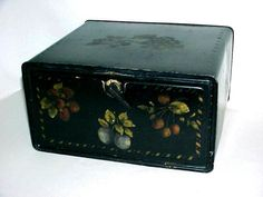Vintage Metal Empeco Bread Box Black With by NANDISNEEDFULTHINGS