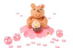 Pink Sugar Paste Teddy Bear Cake Topper