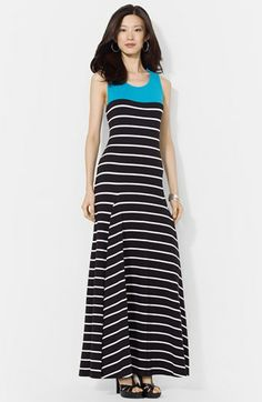 Lauren Ralph Lauren Colorblock Stripe Jersey Maxi dress available at #Nordstrom