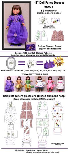 in the hoop doll embroidery and patterns that you embroider, cut, and sew together for American Girl dolls