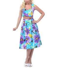 Turquoise & Purple Floral Crop Top & Pleated Skirt - Women & Plus | Daily deals for moms, babies and kids