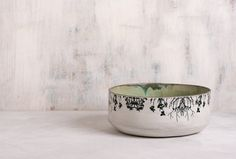 Ceramic Salad Bowl,  Home Decor Fruit Bowl , ceramic bowl handmade pottery , Woodland Bowl , trees print bowl
