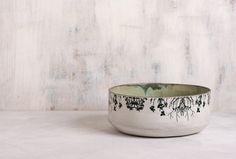 Ceramic Salad Bowl,  Home Decor Fruit Bowl , ceramic bowl handmade pottery , Woodland Bowl , trees print bowl