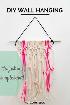 Make An Easy Woven Wall Hanging With Just One Simple Knot! >> http://blog.hgtv.com/design/2015/06/24/make-an-easy-woven-wall-hanging-with-just-one-simple-knot/?soc=pinterest