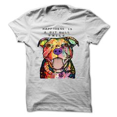 HAPPINES IS A PIT BULL SMILE. T-Shirt! Get YOURS Here! ==> https://www.sunfrog.com/chelsea123456/ilovedog