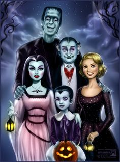 Another Creepy Family - The Munsters!Demonic Lily, her husband Herman, Grandpa, little Eddie and sweet Marilyn.Based on promo picture with original cast.