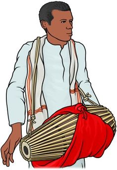 [ khol ]  Indian drum.