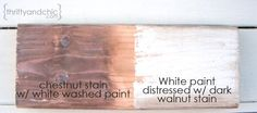 Thrifty and Chic - DIY Projects and Home Decor Make new wood look old Shabby Chic Homes, Shabby Chic Style, Shabby Chic Decor, Dark Wood Furniture, White Painted Furniture, Dark Walnut Stain, Distressed Painting, Kitchen On A Budget, Decorating On A Budget