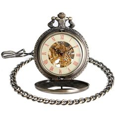 Amazon.com: YISUYA Vintage Bronze Mechanical Hand-wind Pocket Watch Hollow Steampunk Roman Number Dial Fob Watches for Men Women: Watches