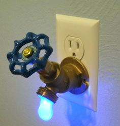 The coolest night light!Blue LED Faucet Valve night light by Greyturtle on Etsy Take My Money, Led Lampe, Cool Stuff, My Dream Home, Chandeliers, Light Up, Wall Lights, Decoration, Blue