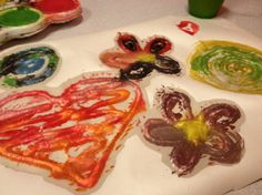 Paint with glue and salt. Kids craft DIY