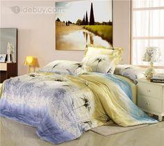 柔らかい色綿100%4ピース寝具セットツリー型プリント