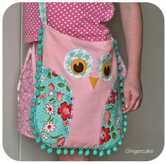 Owl Purse with pompoms. So cute!