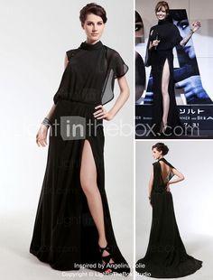 Chiffon Sheath/ Column High Neck Sweep/ Brush Train Evening Dress inspired by Angelina Jolie - USD $ 179.99