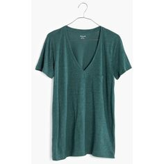 MADEWELL Slub V-Neck Pocket Tee (1,090 MKD) ❤ liked on Polyvore featuring tops, t-shirts, dark spruce, long v neck t shirt, v neck pocket tee, green top, green v neck t shirt and cotton t shirt