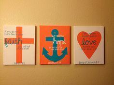 Cross Anchor Heart Trio by TealedA on Etsy, $30.00