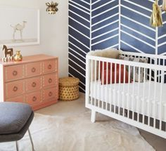18 Must-See Nurseries | Disney Baby Like the wall pattern and crib on this one.