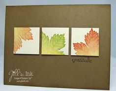 handmade greeting card: Magnificent Maple ... clean and simple look for Thanksgiving .. kraft base ... three inchies in separated panel style ... luv the variations of ink color on the leaves and how each inchie has a different portion of the leaf ... Stampin' Up!
