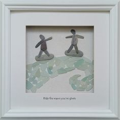 Surfers riding a sea glass wave. par CornishPebbleArt sur Etsy