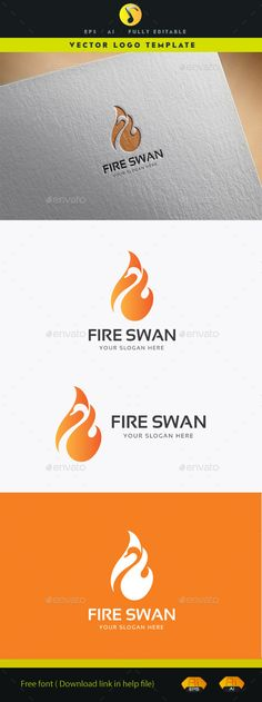 Fire Swan — Vector EPS #design #calligraphy • Available here → https://graphicriver.net/item/fire-swan/11878668?ref=pxcr