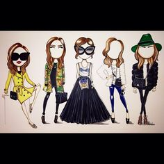 Another addition to the blogger series, Love these looks from  @Chiara Ferragni what a cool little groove. :)) #holidaysketching yew! - @Aaron Favaloro- #webstagram