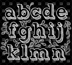 free chalkboard font alphabet | Sketchy hand drawn font, shaded letters, download royalty-free vector ...