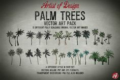 Vector Clip Art Palm Trees by Artistofdesign on Creative Market