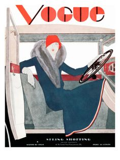 Vogue Cover - March 1929 Poster Print  by Pierre Mourgue at the Condé Nast Collection