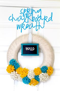 I really like the idea of having a small chalkboard sign in the wreath....