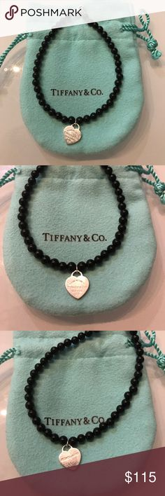 Tiffany & co onyx bead bracelet black Preowned Tiffany onyx bracelet with mini heart. Guarantee Authentic Tiffany! Comes with pouch. Condition is used but nothing major to note other than your typical light scuffs that Tiffany jewelry gets when it's worn. I had been solidify on the last beads because it was becoming too loose. See pic.Price accordingly. Any questions please ask. Beads 4mm Tiffany & Co. Jewelry Bracelets