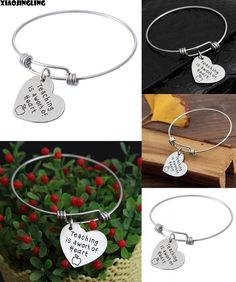 [Visit to Buy] XIAOJINGLING New Bracelet On Teacher's Day Gift Teaching is A Work of Heart Apple Heart Charm Bangle Bracelet Teacher Gift #Advertisement
