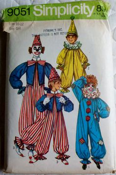 Simplicity 9051 Vintage 1970s  Sewing Pattern Children's Clown Costume