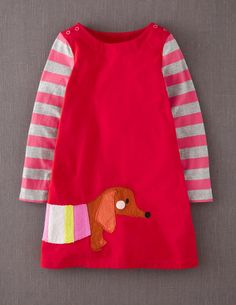 Fun Applique Jersey Dress - Red Sausage Dog RRP £24-28