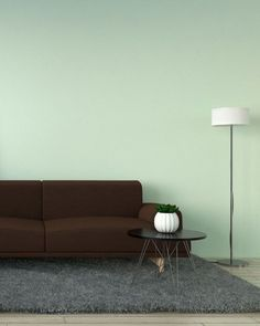 Brown couch with mint wall. Explore another color options that can go perfectly with a brown couch only at roomdsign.com Green Accent Walls, Mint Walls, Yellow Walls, Beige Walls, Best Wall Paint, Wall Paint Colors, Brown Furniture, Furniture Ideas, Wall Ideas