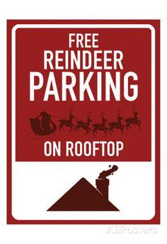 Free Reindeer Parking Art Print