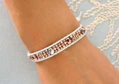 Beaded Leather Cuff with White Leather Silver and por MaisJewelry