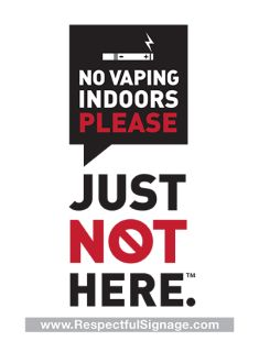 Many vaping customers think it's okay to smoke indoors. We designed these window decals to help establishments let their clientele know that -- until the science proves otherwise -- please enjoy your vaporizer outside. Just Not Here.   5 x 7 size  Exterior application  Adhesive vinyl  UV resistant material