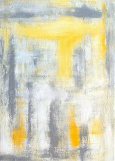 Grey and Yellow Abstract Art Paintign by T30Gallery, $78.00